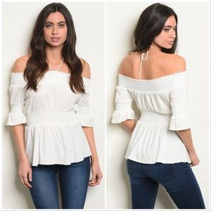 Short Sleeved Off the Shoulder Smocked Top